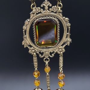 Jewelry - Antique Edwardian Amber Glass Sautoir Necklace